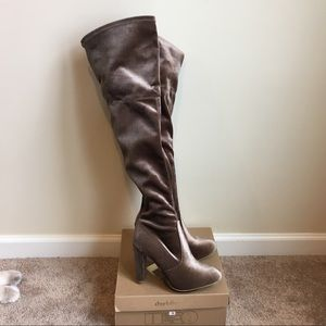 New Taupe Velvet Over the Knee High Heel Boots